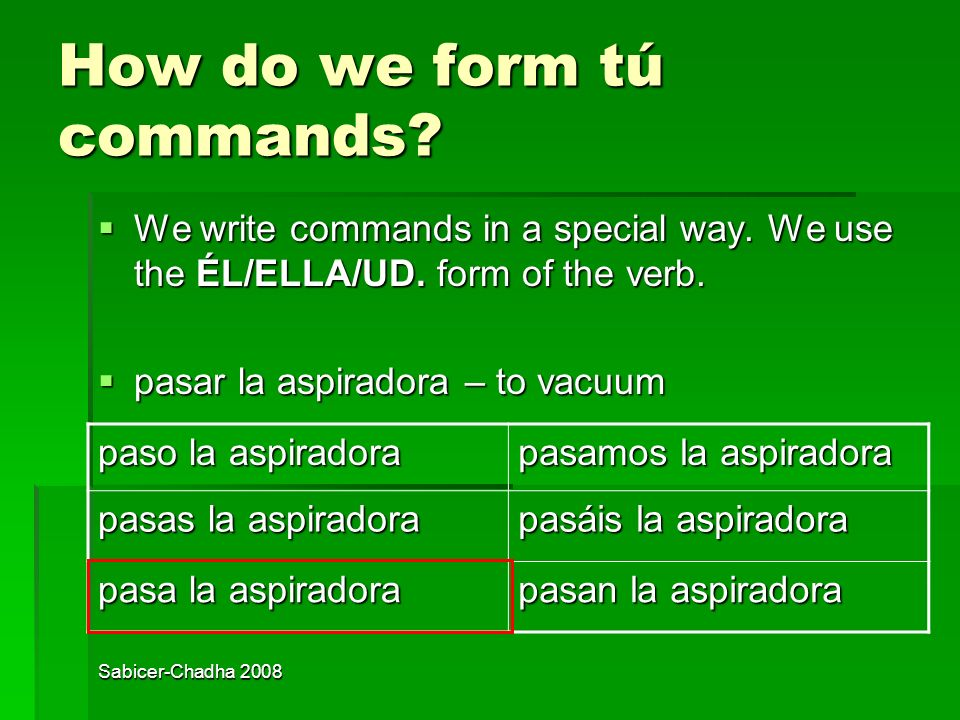 How do we form tú commands