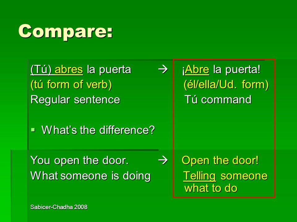 Compare: (Tú) abres la puerta  ¡Abre la puerta!