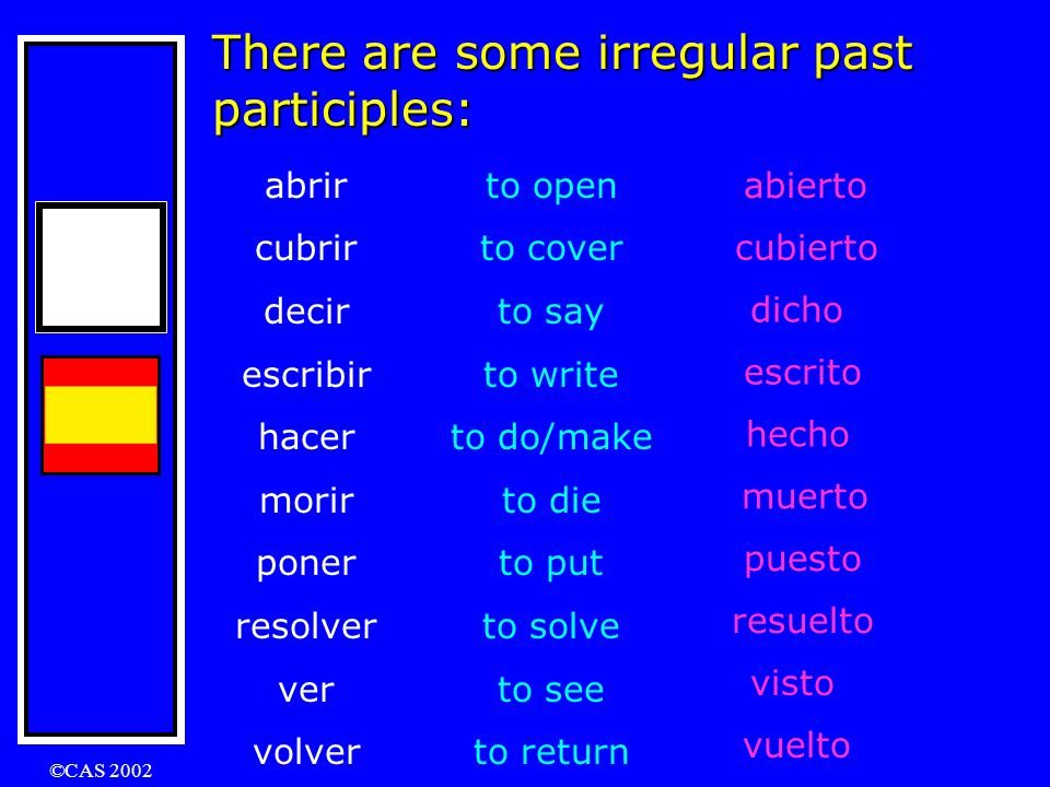 There are some irregular past participles: