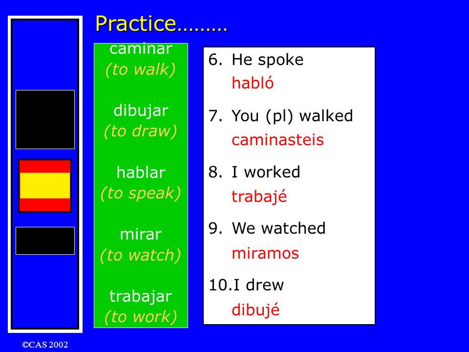 Practice……… caminar (to walk) dibujar (to draw) hablar (to speak)