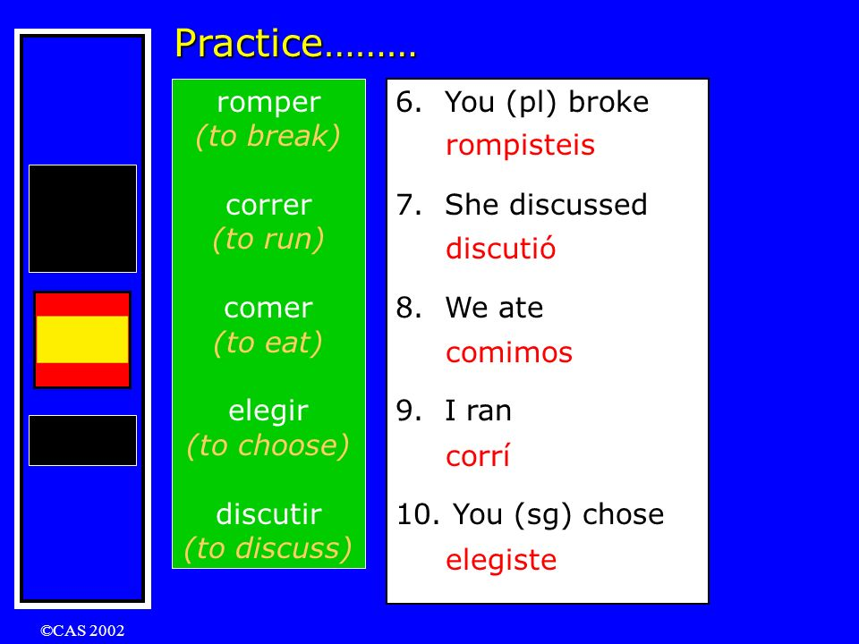 Practice……… romper (to break) correr (to run) comer (to eat) elegir