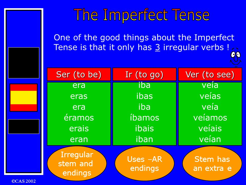 The Imperfect Tense One of the good things about the Imperfect Tense is that it only has 3 irregular verbs !