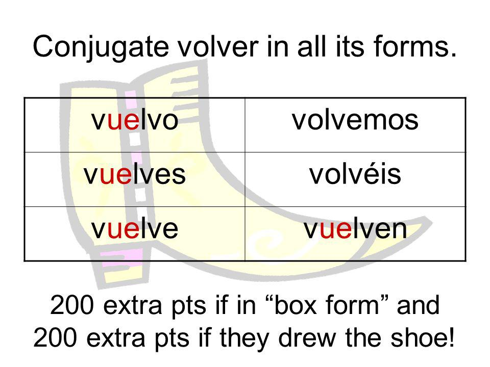 Conjugate volver in all its forms.