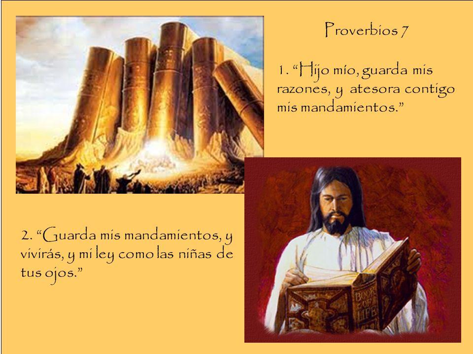 Proverbios 7 1. Hijo mío, guarda mis razones, y atesora contigo mis mandamientos.