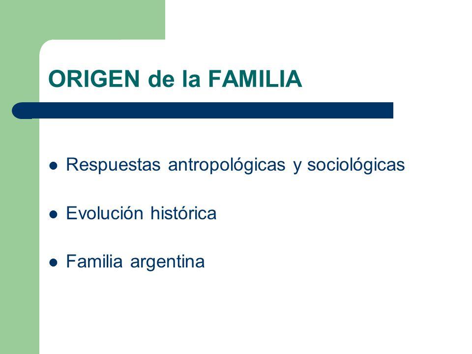 ORIGEN de la FAMILIA Respuestas antropológicas y sociológicas
