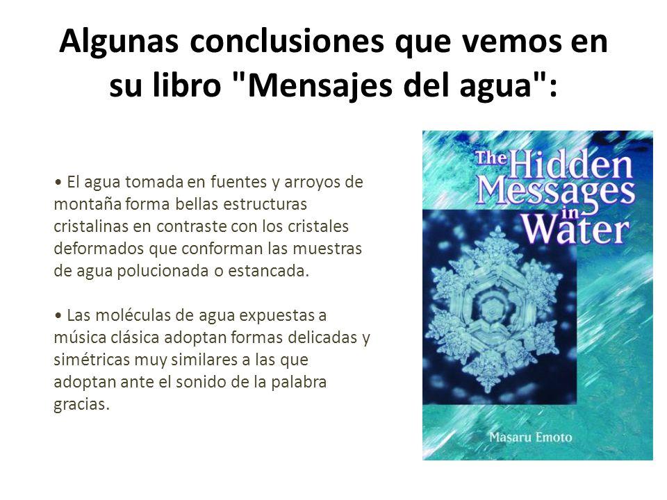 Algunas conclusiones que vemos en su libro Mensajes del agua :