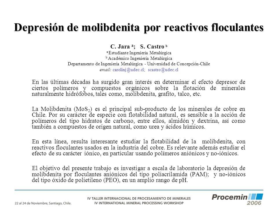 Depresión de molibdenita por reactivos floculantes