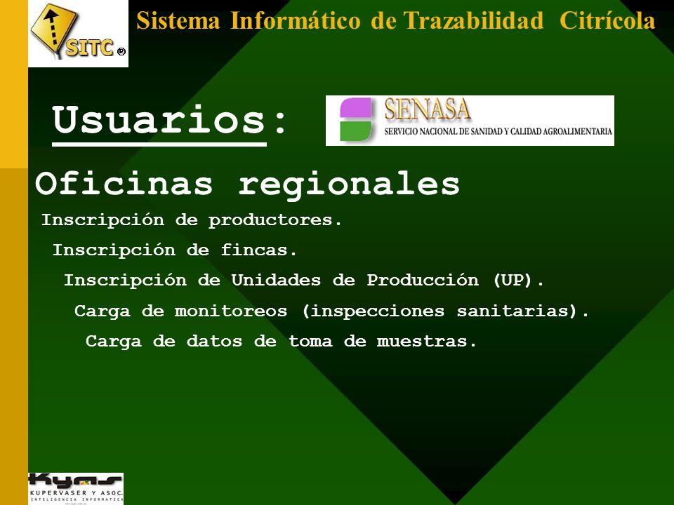Usuarios: Oficinas regionales
