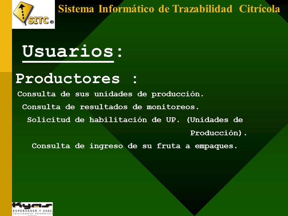 Usuarios: Productores : Sistema Informático de Trazabilidad Citrícola