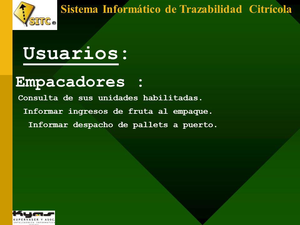 Usuarios: Empacadores : Sistema Informático de Trazabilidad Citrícola