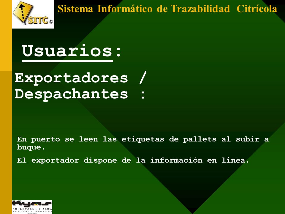 Usuarios: Exportadores / Despachantes :