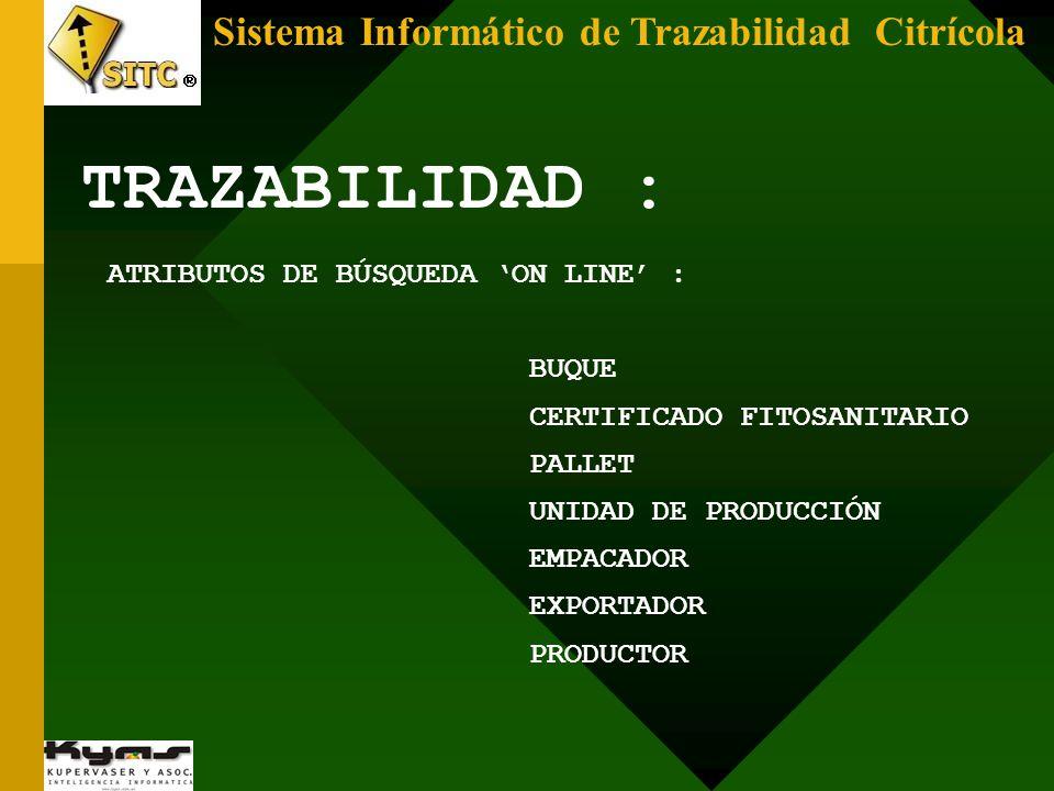 TRAZABILIDAD : Sistema Informático de Trazabilidad Citrícola
