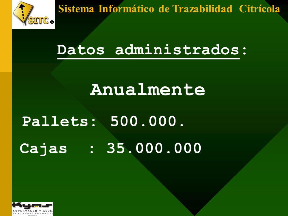 Datos administrados: Anualmente Pallets: 500.000. Cajas : 35.000.000