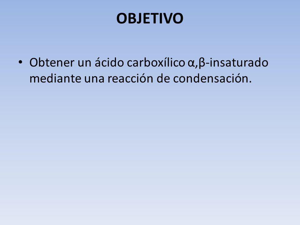 OBJETIVO Obtener un ácido carboxílico α,β-insaturado mediante una reacción de condensación.
