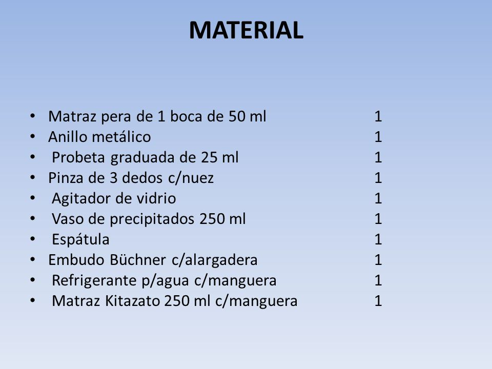 MATERIAL Matraz pera de 1 boca de 50 ml 1 Anillo metálico 1