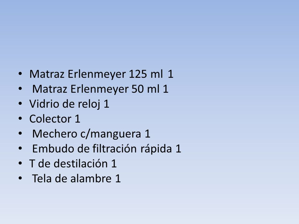 Matraz Erlenmeyer 125 ml 1 Matraz Erlenmeyer 50 ml 1. Vidrio de reloj 1. Colector 1. Mechero c/manguera 1.