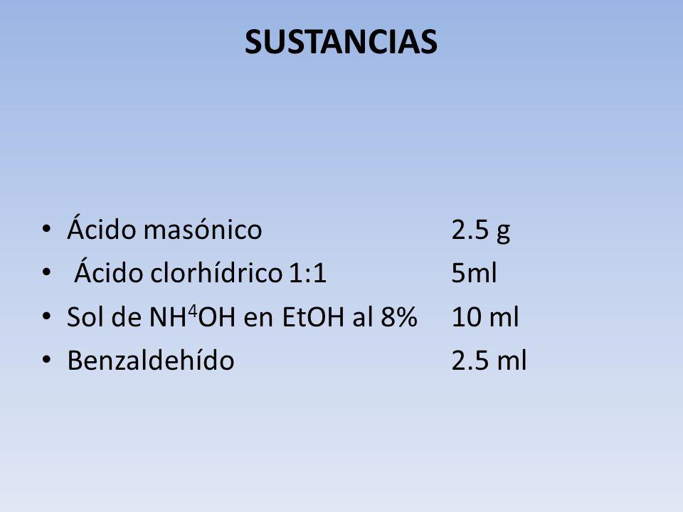 SUSTANCIAS Ácido masónico 2.5 g Ácido clorhídrico 1:1 5ml