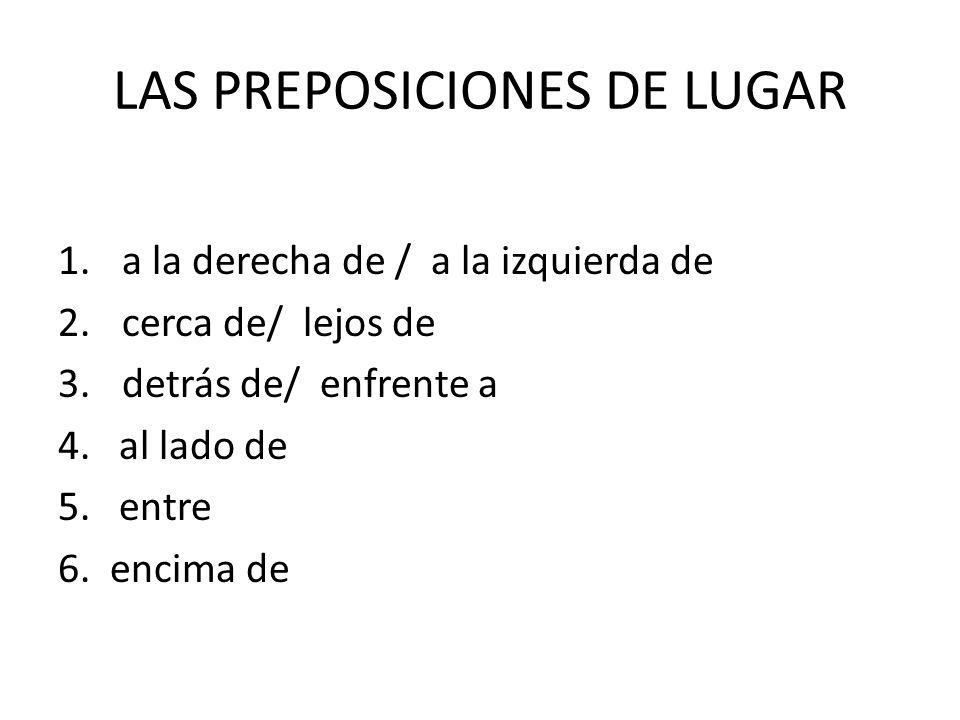 LAS PREPOSICIONES DE LUGAR