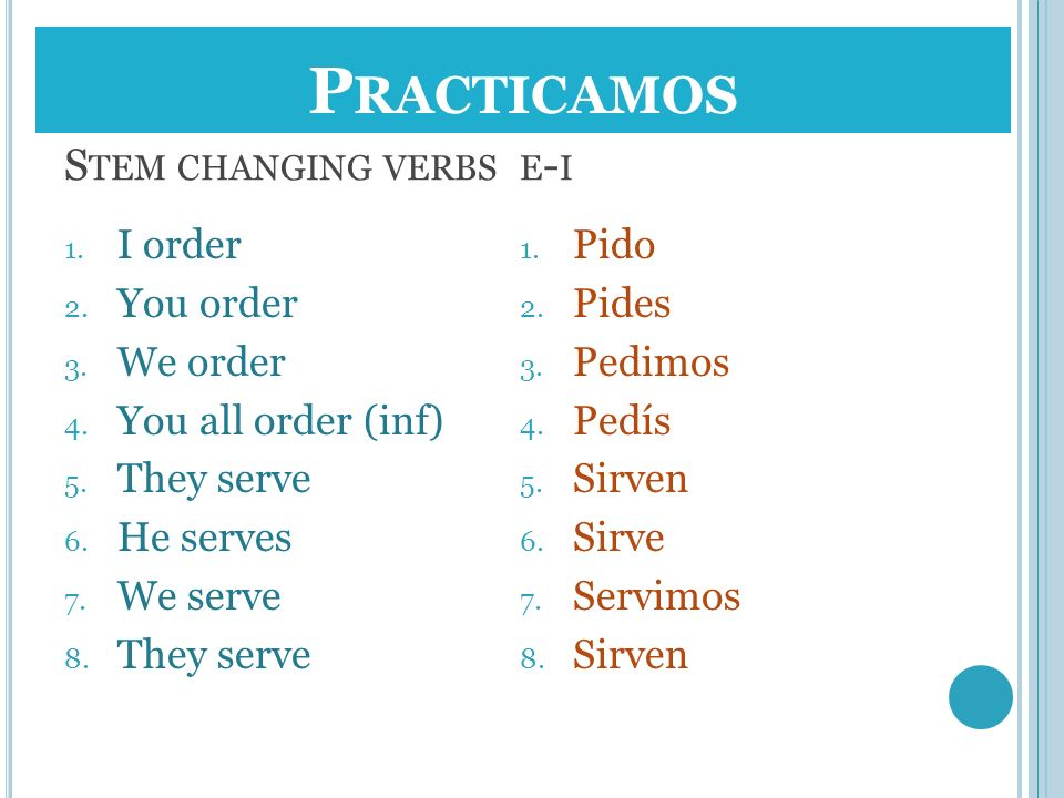Stem changing verbs e-i