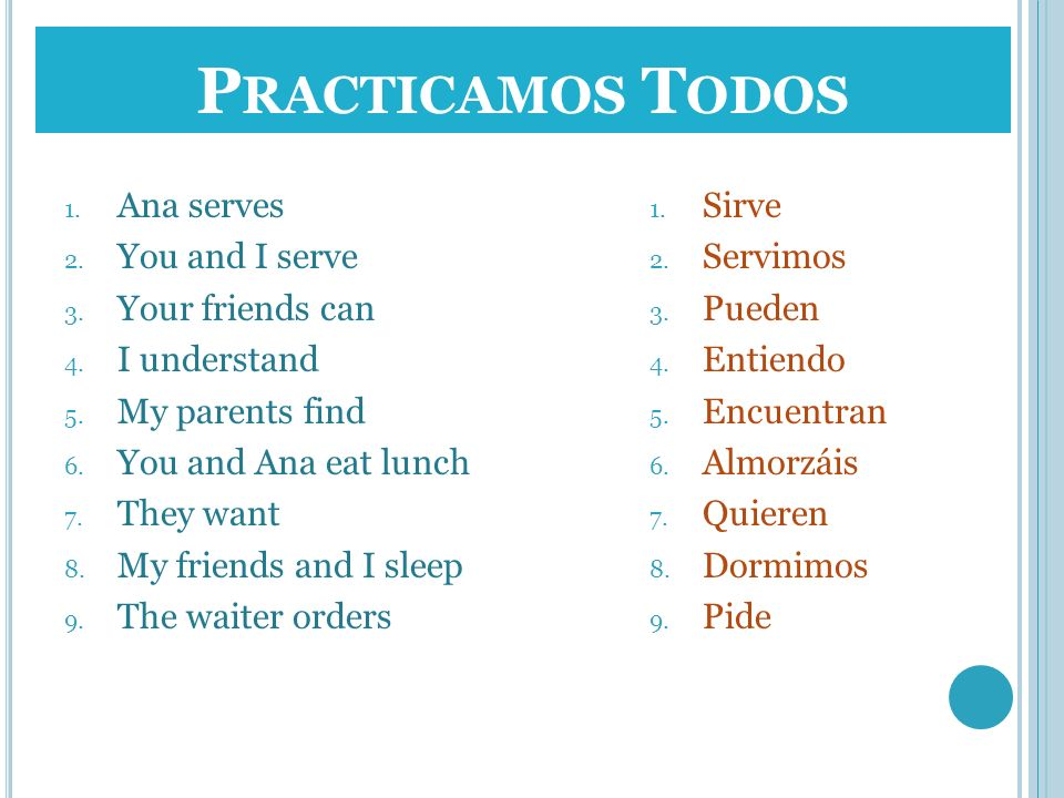 Practicamos Todos Ana serves You and I serve Your friends can