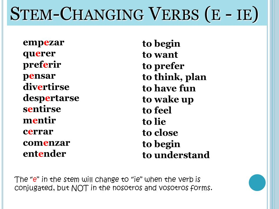 Stem-Changing Verbs (e - ie)