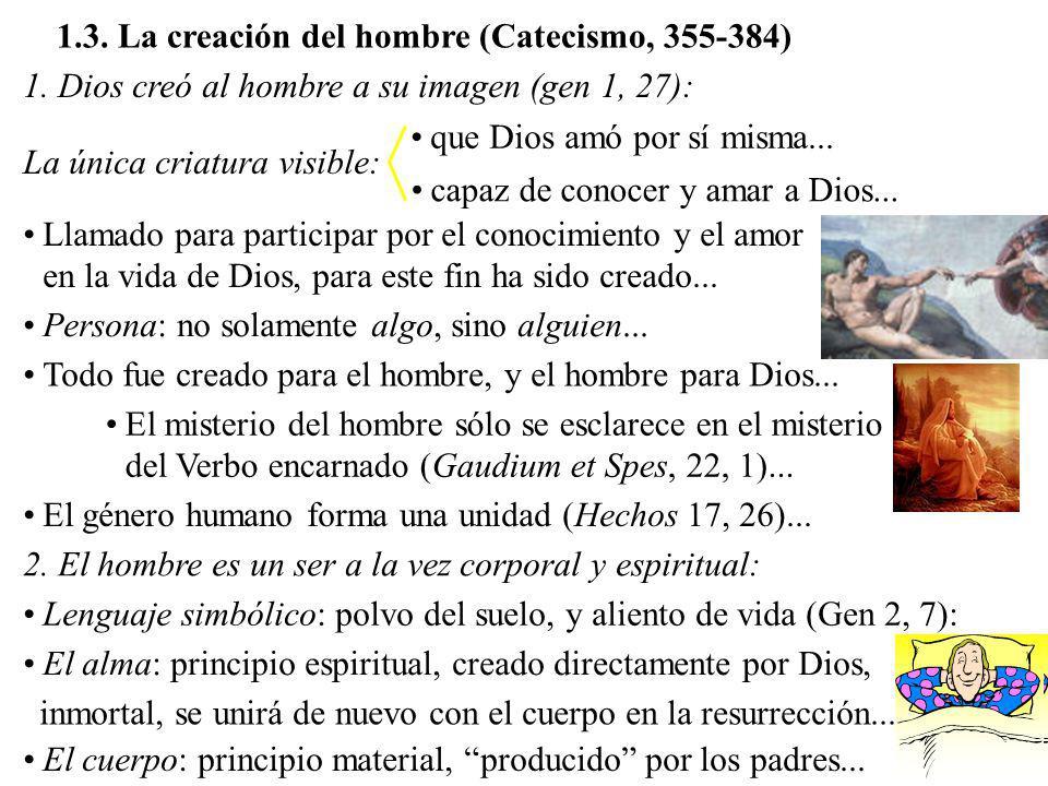 1.3. La creación del hombre (Catecismo, 355-384)