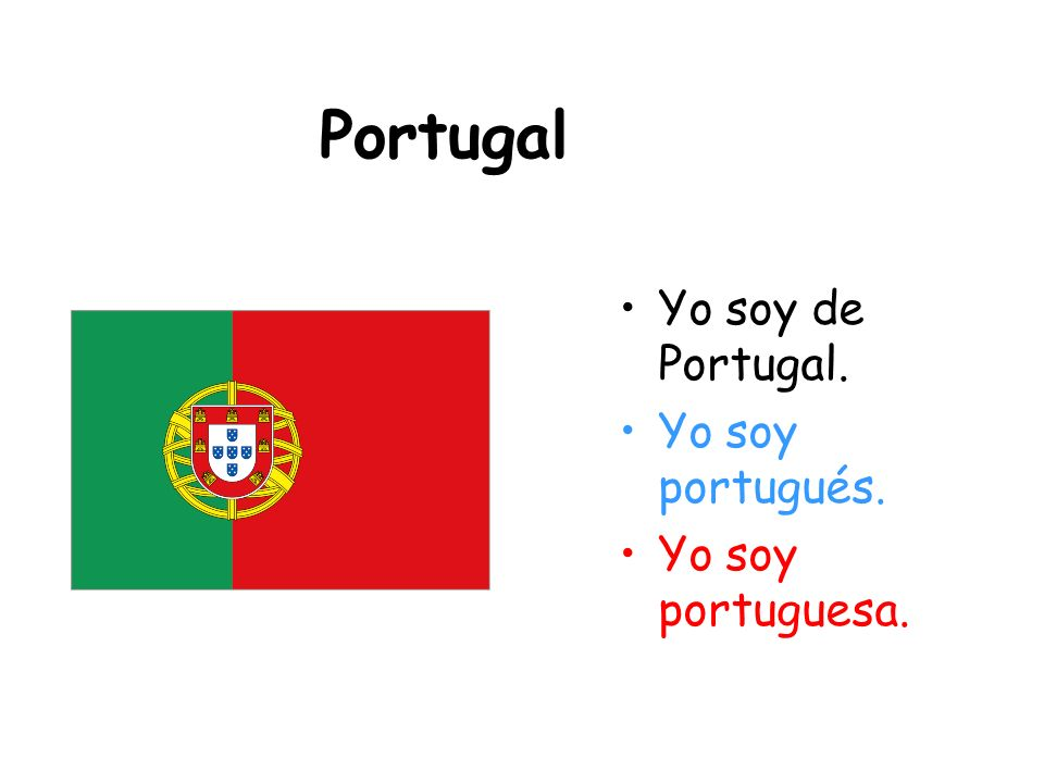 Portugal Yo soy de Portugal. Yo soy portugués. Yo soy portuguesa.