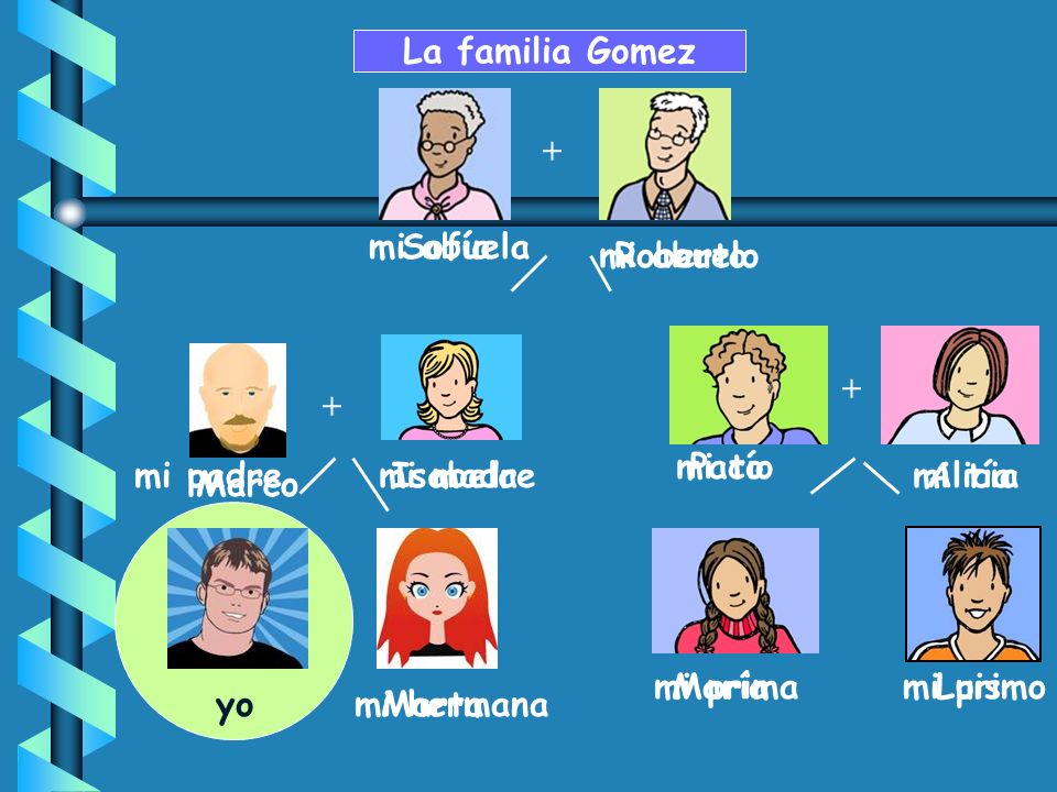 La familia Gomez + mi abuela Sofía mi abuelo Roberto + + mi tío Paco