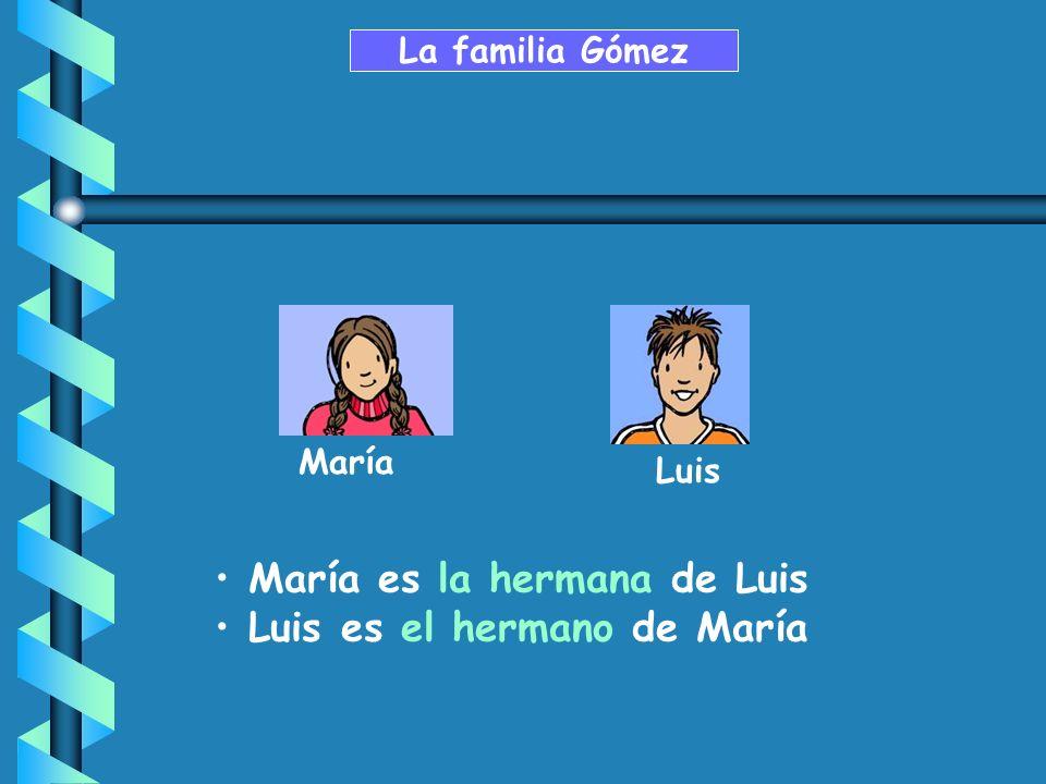 María es la hermana de Luis Luis es el hermano de María