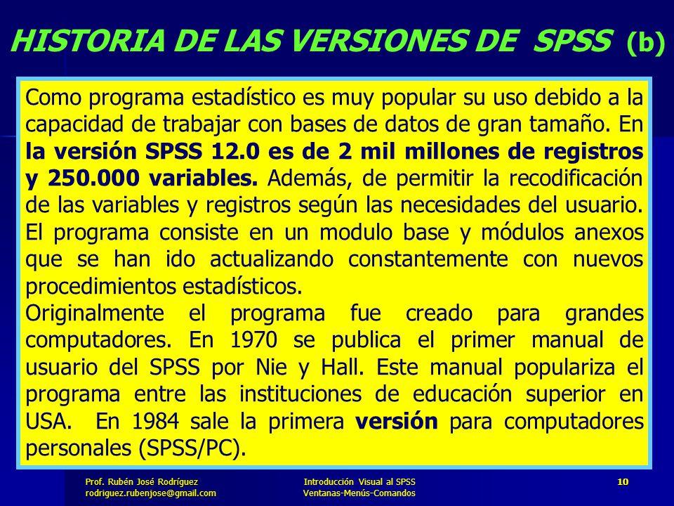 HISTORIA DE LAS VERSIONES DE SPSS (b)
