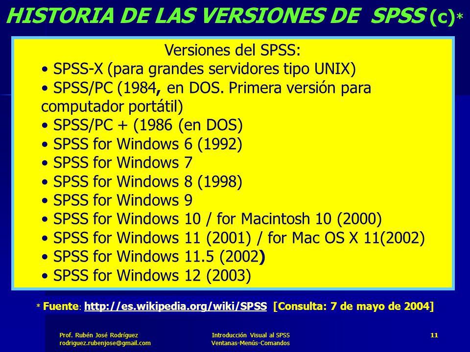 HISTORIA DE LAS VERSIONES DE SPSS (c)*