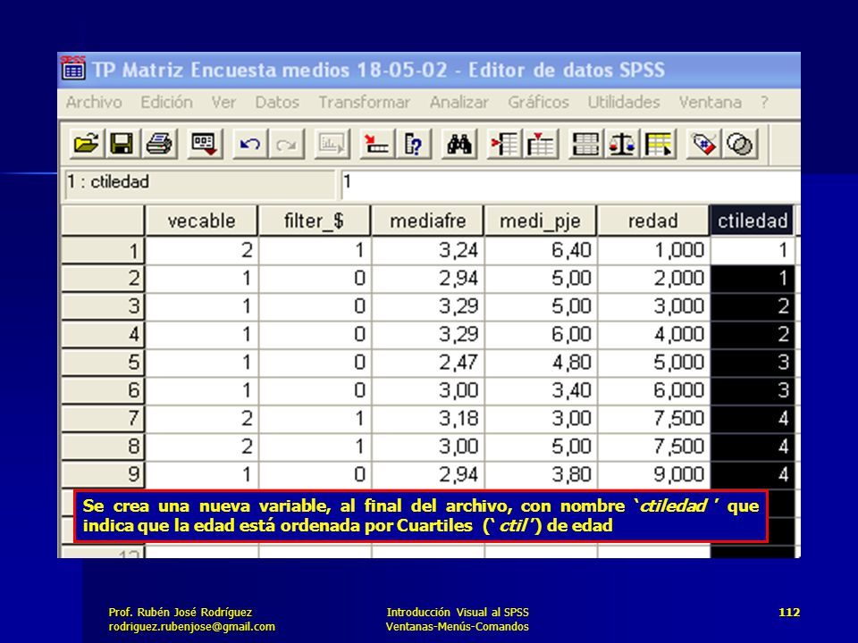 Se crea una nueva variable, al final del archivo, con nombre 'ctiledad ' que indica que la edad está ordenada por Cuartiles (' ctil ') de edad