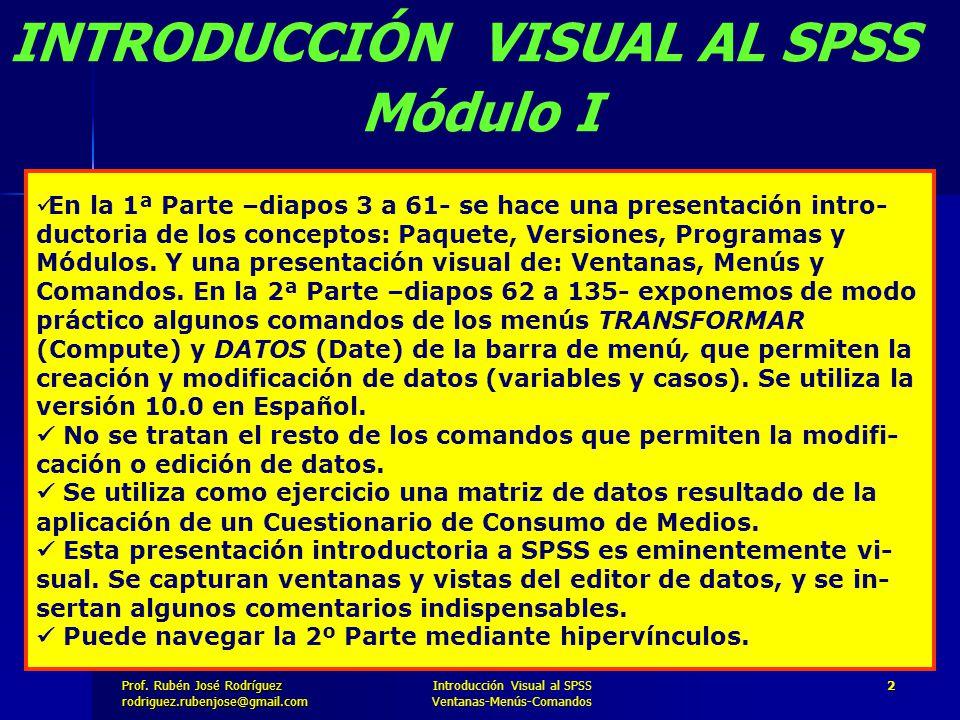 INTRODUCCIÓN VISUAL AL SPSS Módulo I