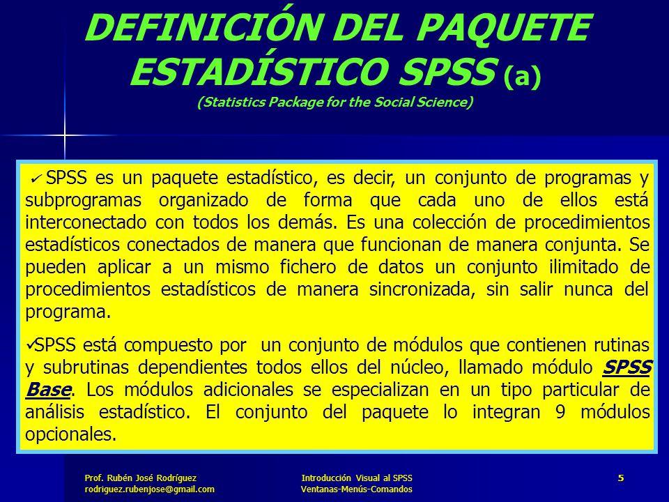 DEFINICIÓN DEL PAQUETE ESTADÍSTICO SPSS (a)