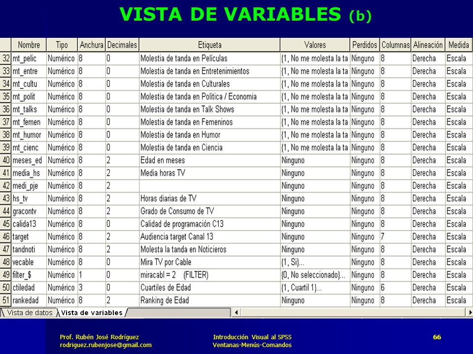 VISTA DE VARIABLES (b) Introducción Visual al SPSS