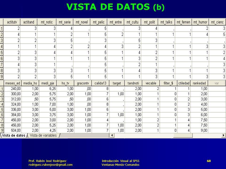 VISTA DE DATOS (b) Introducción Visual al SPSS Ventanas-Menús-Comandos