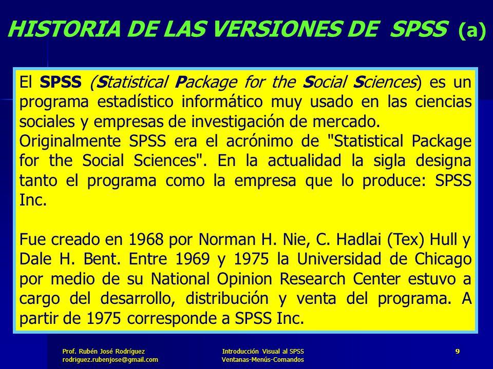HISTORIA DE LAS VERSIONES DE SPSS (a)