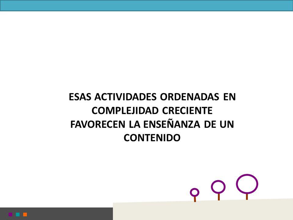 ESAS ACTIVIDADES ORDENADAS EN COMPLEJIDAD CRECIENTE