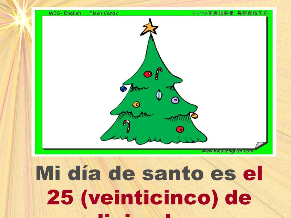 Mi día de santo es el 25 (veinticinco) de diciembre.