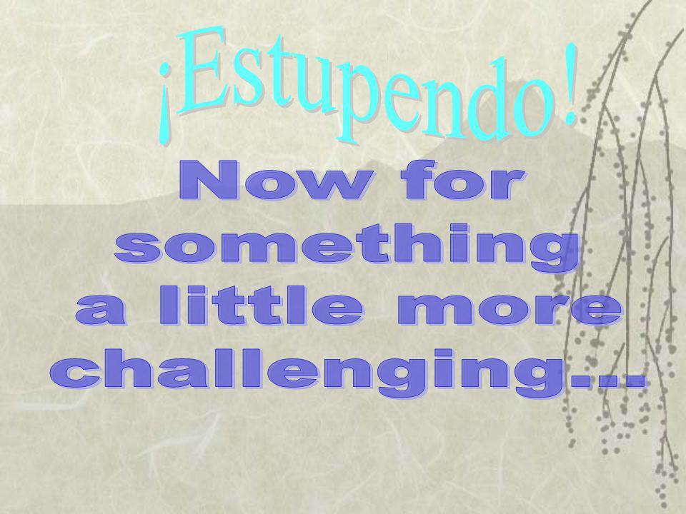 ¡Estupendo! Now for something a little more challenging...