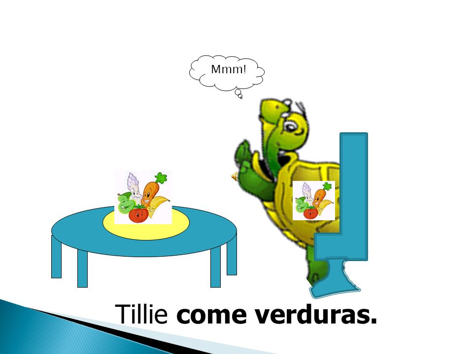 Mmm! Tillie come verduras.