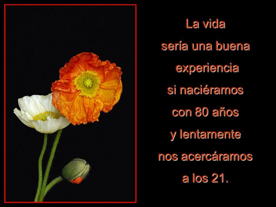 La vida sería una buena. experiencia. si naciéramos. con 80 años. y lentamente. nos acercáramos.
