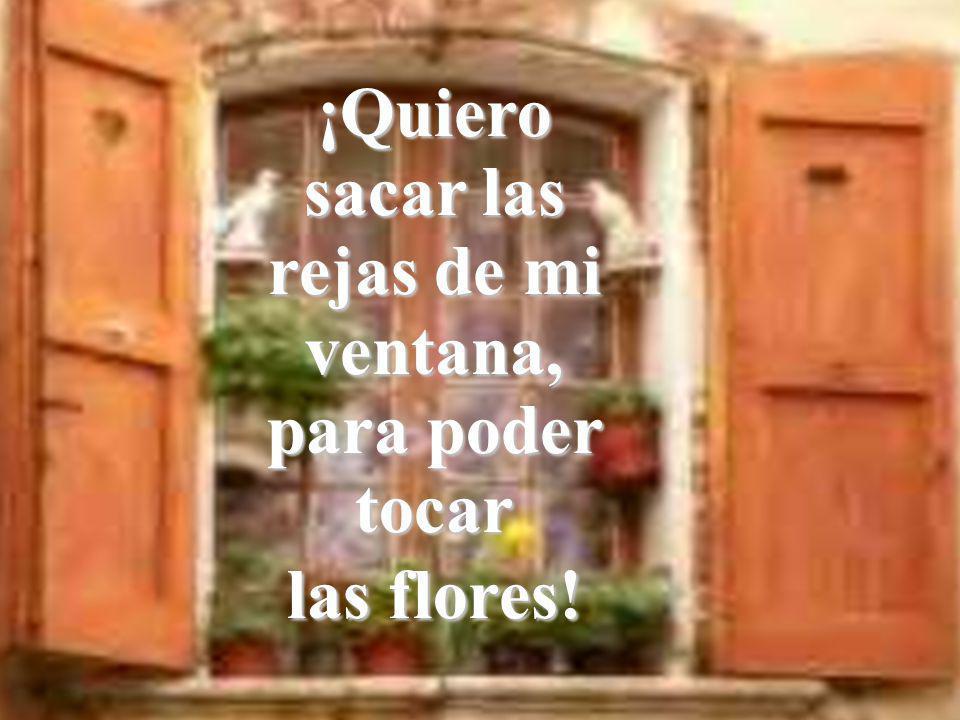 ¡Quiero sacar las rejas de mi ventana, para poder tocar las flores!
