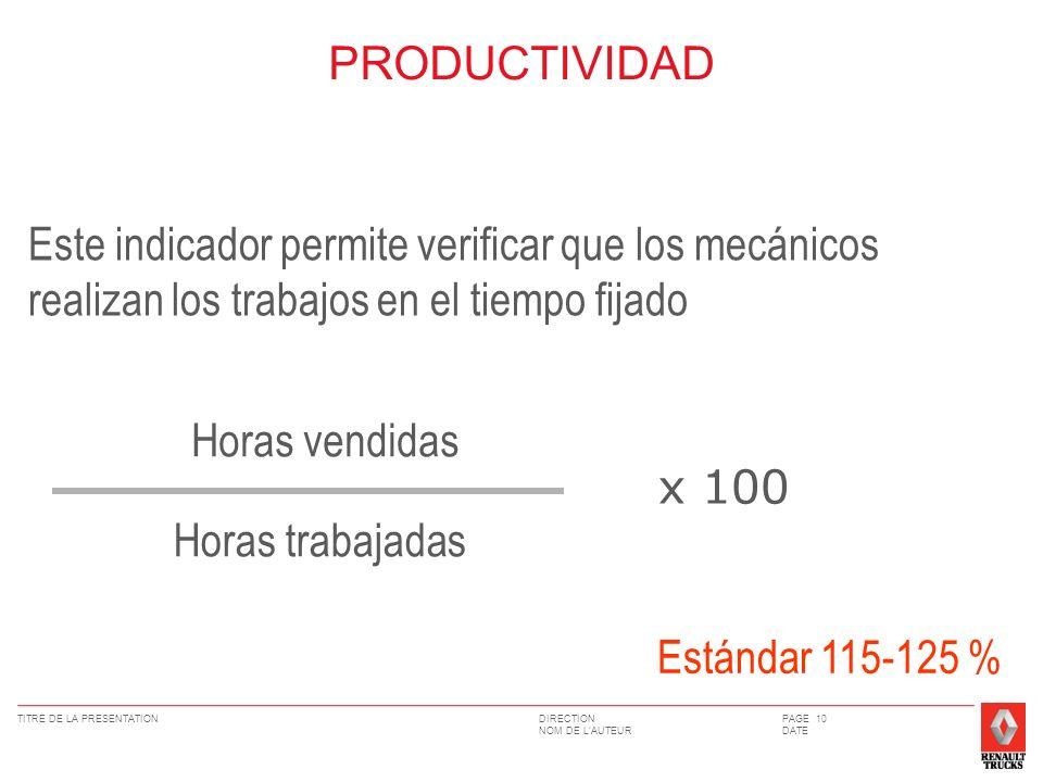 PRODUCTIVIDAD Este indicador permite verificar que los mecánicos realizan los trabajos en el tiempo fijado.