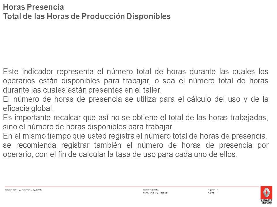 Horas Presencia Total de las Horas de Producción Disponibles.