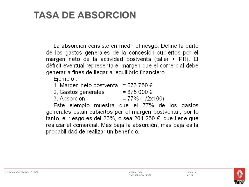 TASA DE ABSORCION