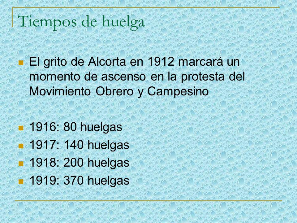 Tiempos de huelga El grito de Alcorta en 1912 marcará un momento de ascenso en la protesta del Movimiento Obrero y Campesino.