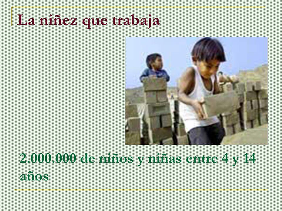 La niñez que trabaja 2.000.000 de niños y niñas entre 4 y 14 años