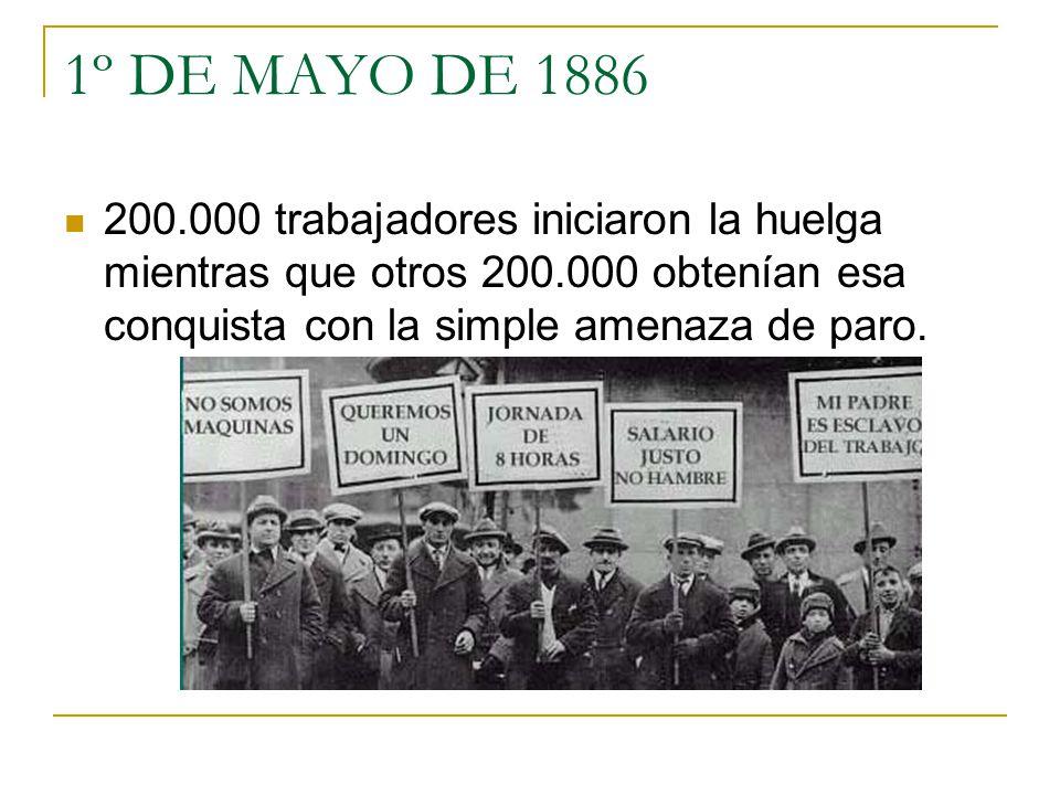 1º DE MAYO DE 1886 200.000 trabajadores iniciaron la huelga mientras que otros 200.000 obtenían esa conquista con la simple amenaza de paro.