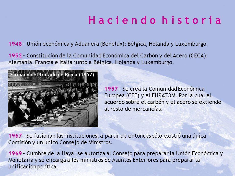 H a c i e n d o h i s t o r i a 1948 – Unión económica y Aduanera (Benelux): Bélgica, Holanda y Luxemburgo.